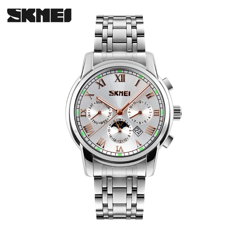 Skmei 9121sl Quartz Stainless Steel Zinc Alloy Water Resistant Watch