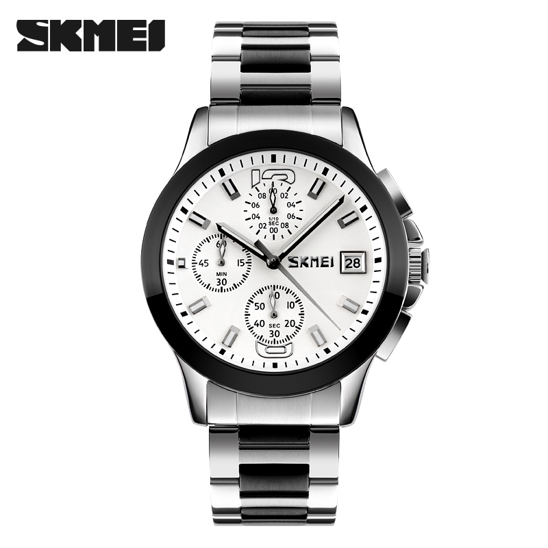 Skmei 9126wh Quartz Stainless Steel Zinc Alloy Water Resistant Watch