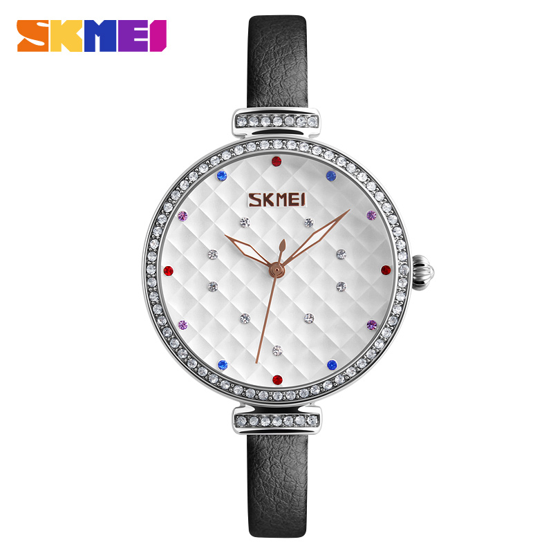 Skmei 9142bl Quartz Leather Fashion & Casual Water Resistant Watch