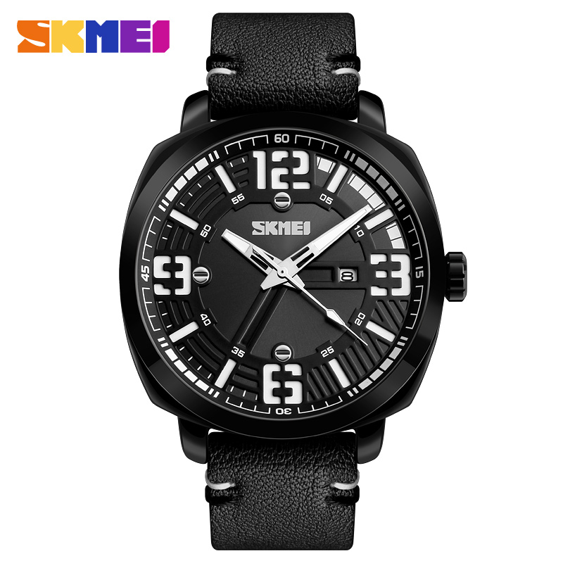 Skmei 1351bl Quartz Leather Sports Fashionable Water Resistant Watch