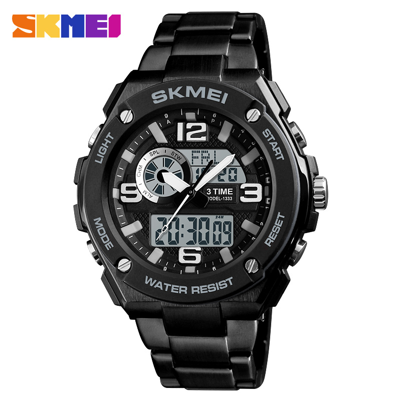 Skmei 1333bl Analog Digital Stainless Steel Fashionable Sports Water Resistant Watch