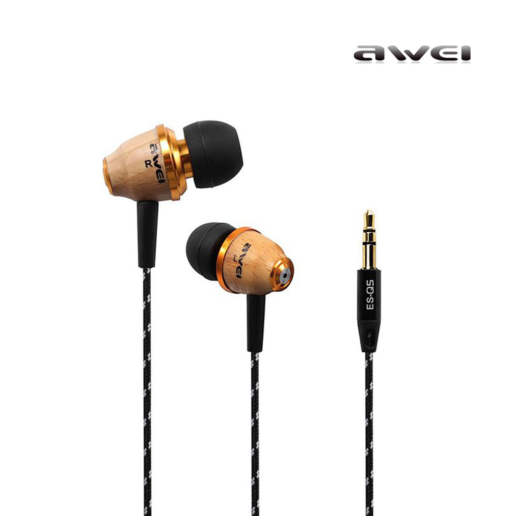 Awei Es-q5 Strong Low Bass Sound Wooden In - Ear Headphone 1.2m Canvas Round Cable 3.5mm Jack For Smartphone
