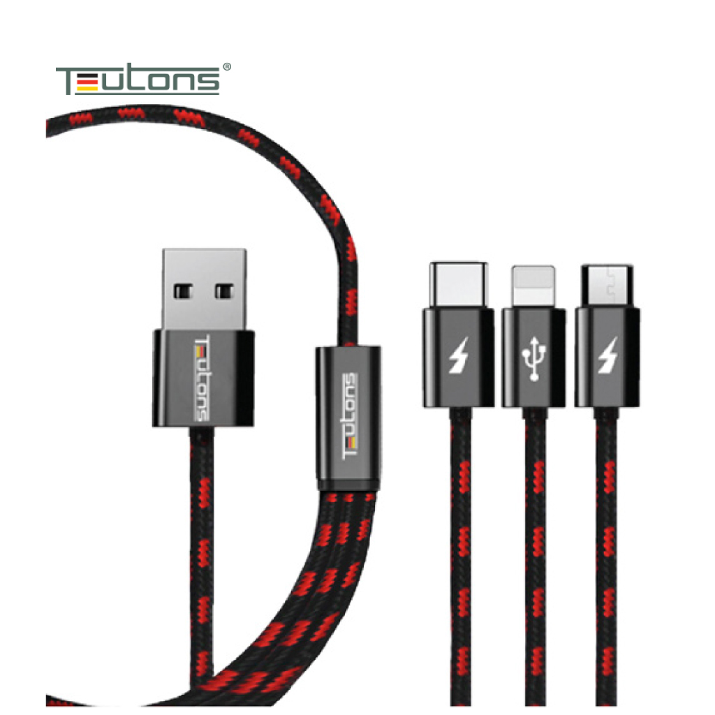 Teutons 3.1 Usb Data Cable Black 1.2m (ios/android/type C)