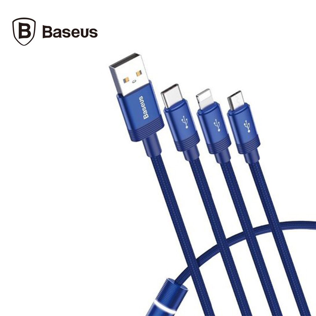 Baseus Data Faction 3-in-1 Cable Usb 3.5a 1.2m (blue)