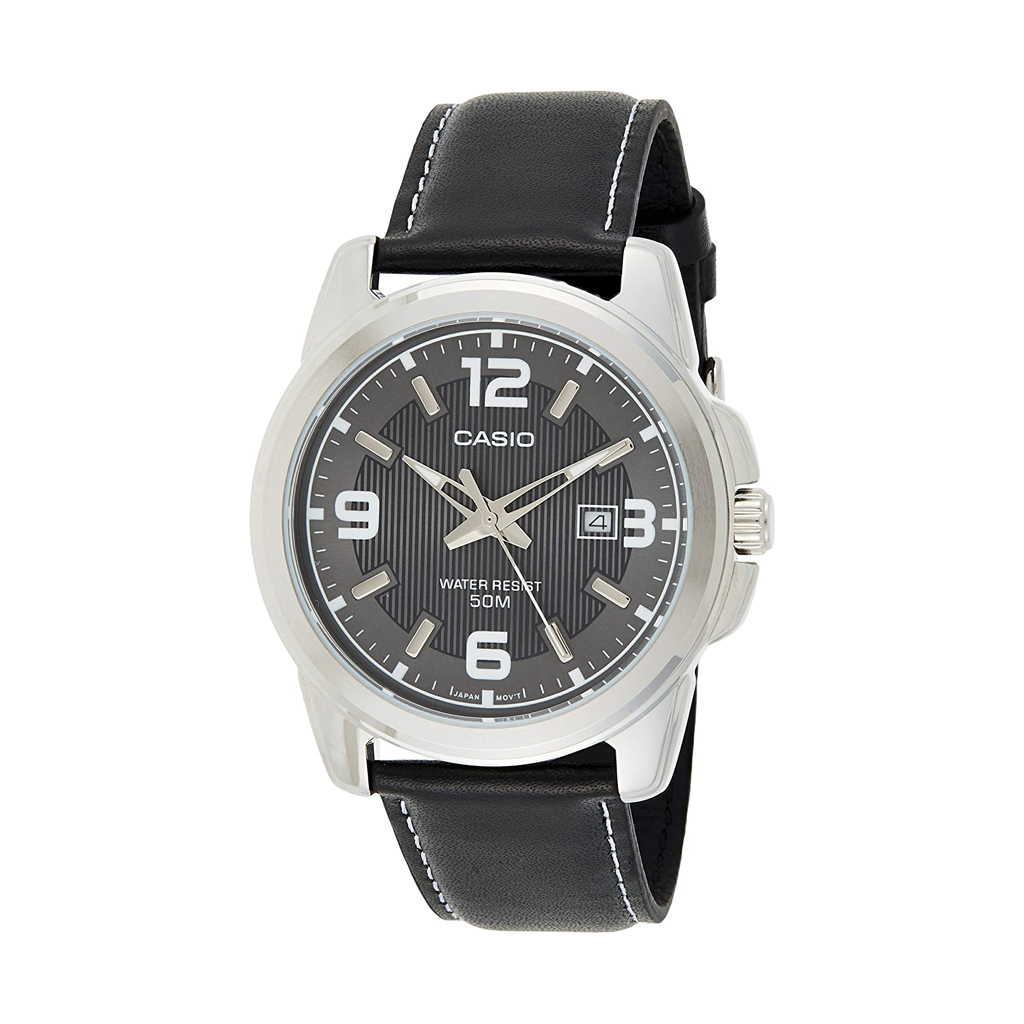 Casio Men Black Dial Leather Band Watch (mtp-1314l-8av)