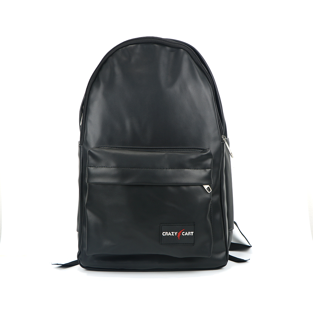 Crazy Cart (artificial) Leather Backpack (a-291bc) Black