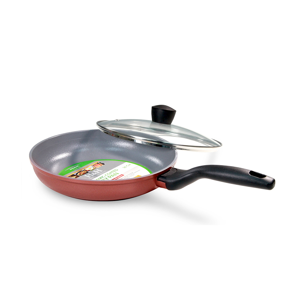 H&h Brand Ceramic Coated Fry Pan With Lid (26cm/10.5inc)