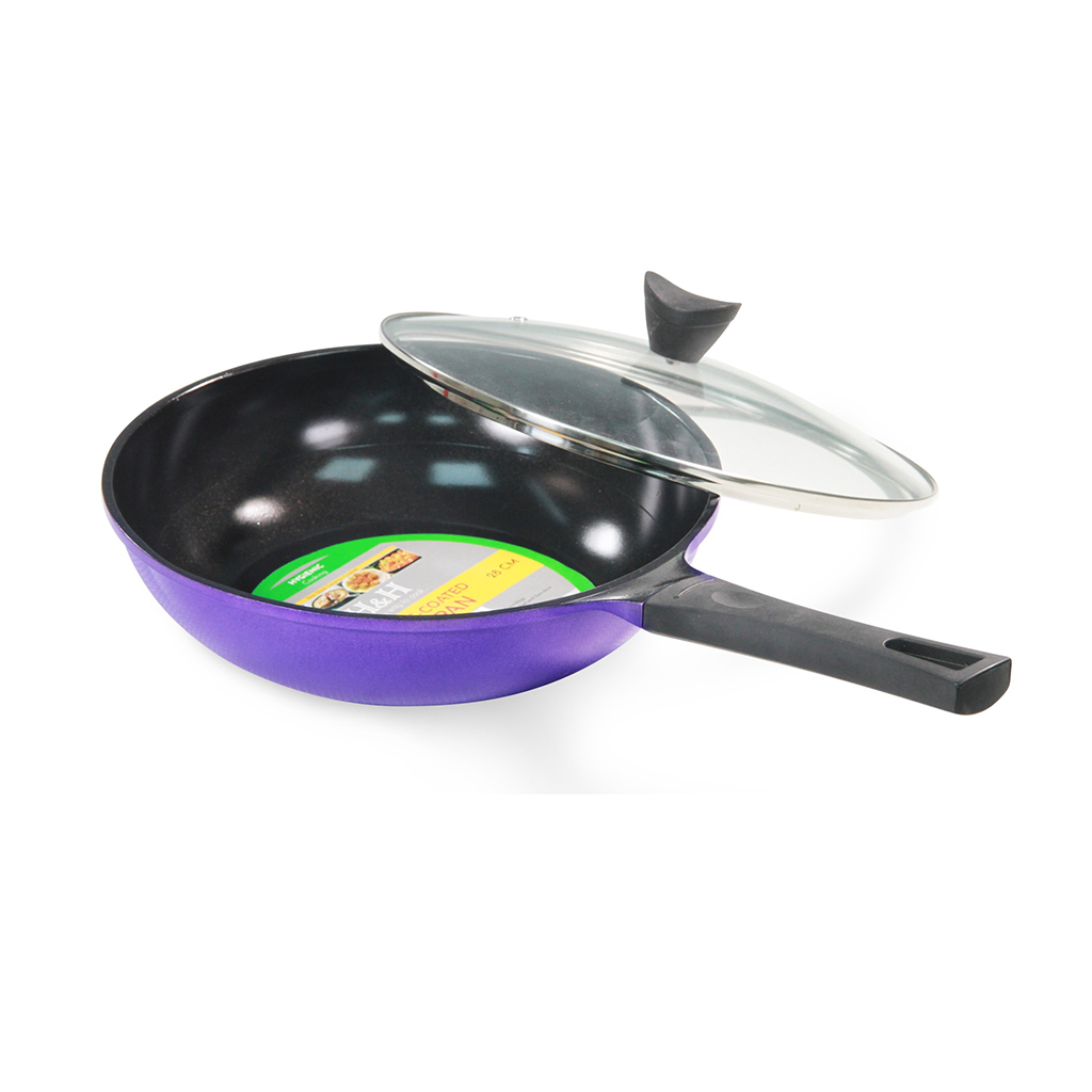 H&h Brand Ceramic Coated Wok Pan With Lid (28cm/11inc)