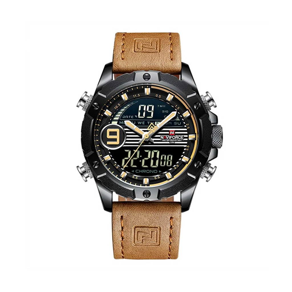 Naviforce Nf9146byl.bn Leather Band Watch For Men