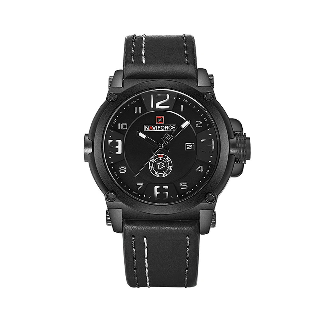 Naviforce Nf9099 Bwb Leather Band Watch For Men