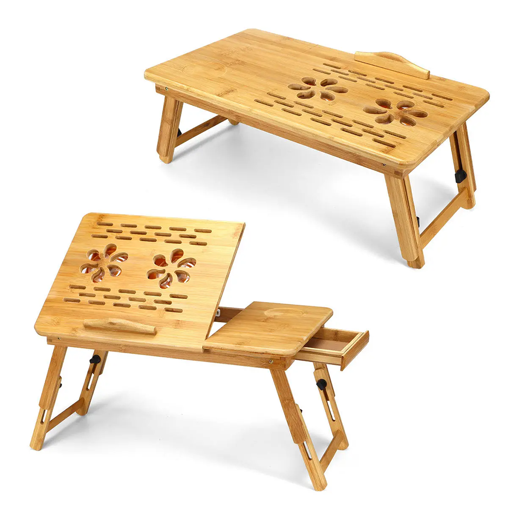 Bamboo Foldable Laptop Desk With 2 Usb Cooling Fan Table Stand