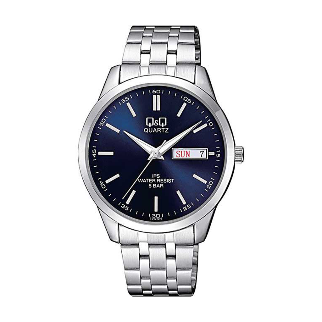 Q&q Cd02j202y Silver Day Date Wrist Watch For Men