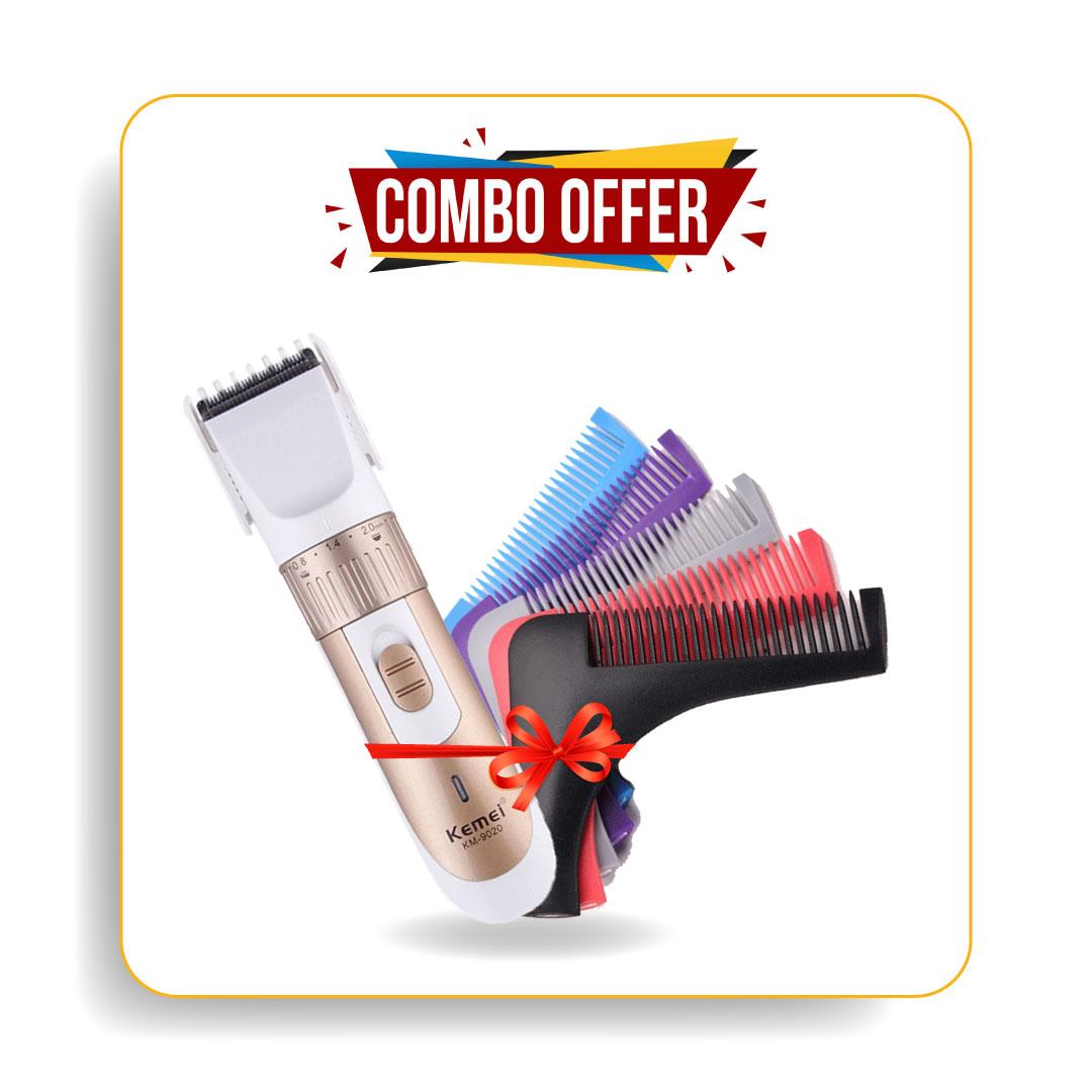 Kemei Km-9020 Trimmer & Shainpur Sn-001 Beard Shaper Comb For Men