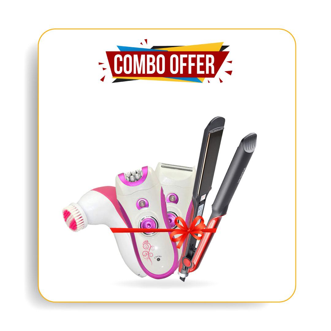 Kemei Km-531 Hair Straightener & Browns Bs-3066 6 In 1 Lady Shaver
