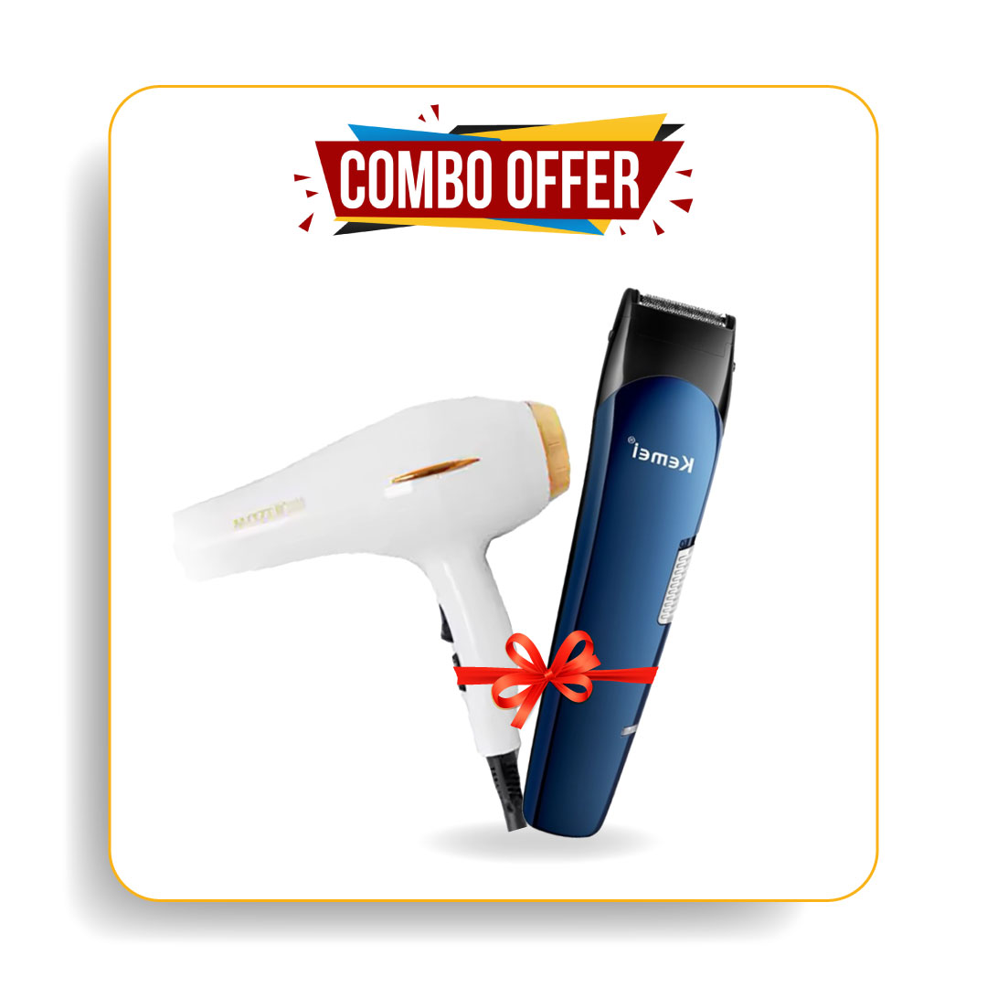 Kemei Km-550 5 In 1 Trimmer & Mozer Mz-5918 Hair Dryer