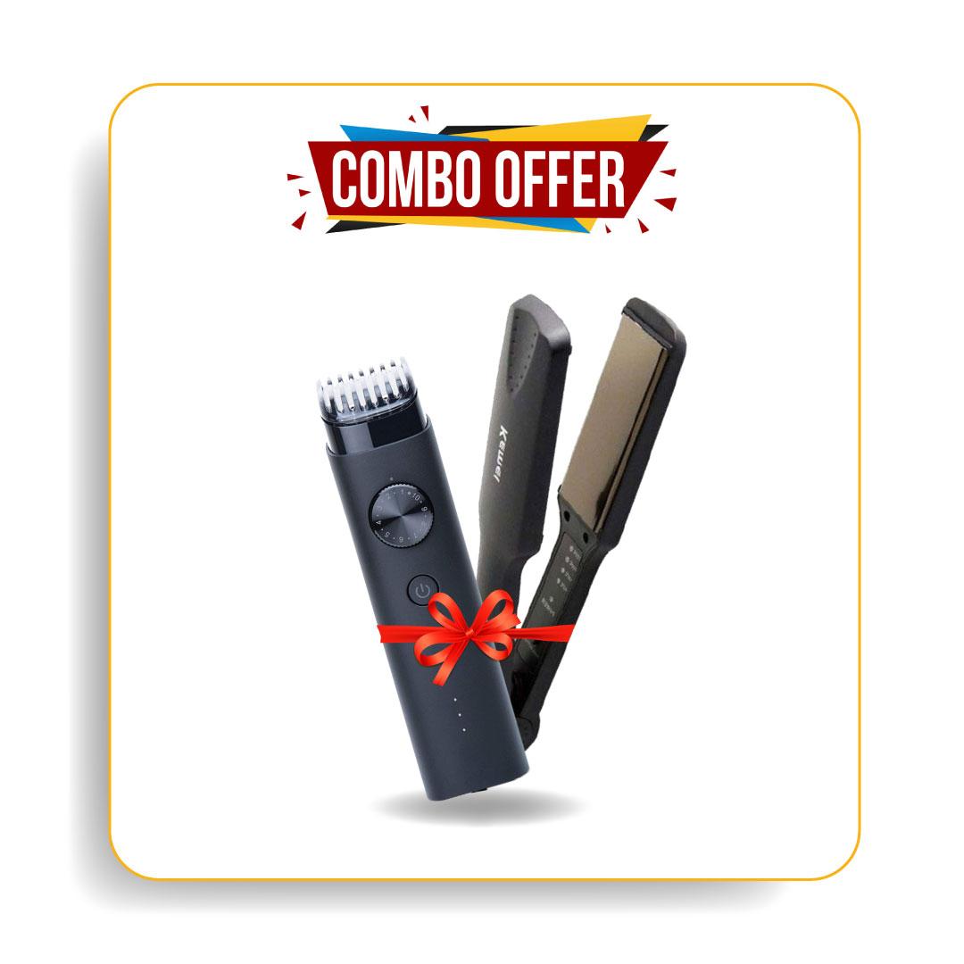 Kemei Km-329 Hair Straightener & Xiaomi Beard Trimmer Mi Ipx7