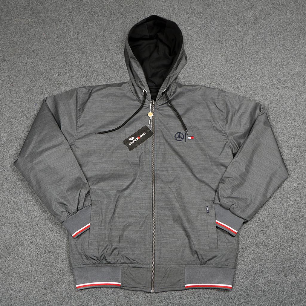 Men's Winter Double Sided Waterproof Hoodie Jacket - Steel Grey - Grey