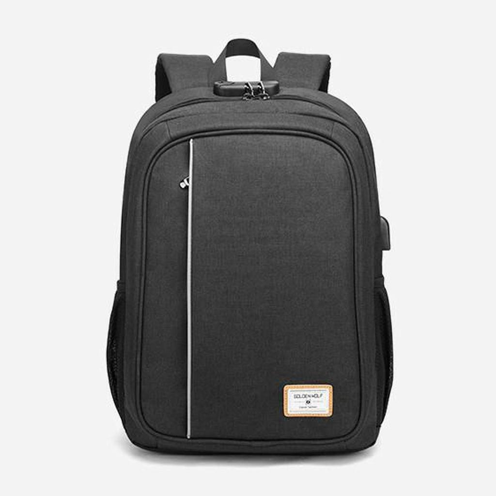 Golden Wolf Cronos Unisex Anti-theft Lock Night Reflective Stripe Travel Student Laptop Backpack 15.6 Inch Black