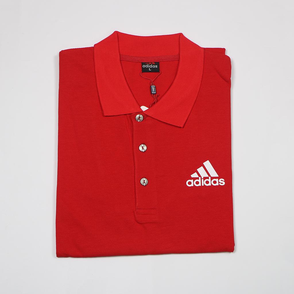 Adidas Pique Fabric Mens Regular Polo T Shirt (red)