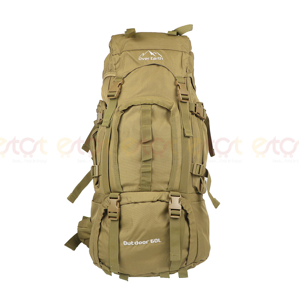 Over Earth Outdoor 60l Large Premium Quality Stylish And Professional Hiking Mounterian Sports Travel Backpack (dark Khaki)