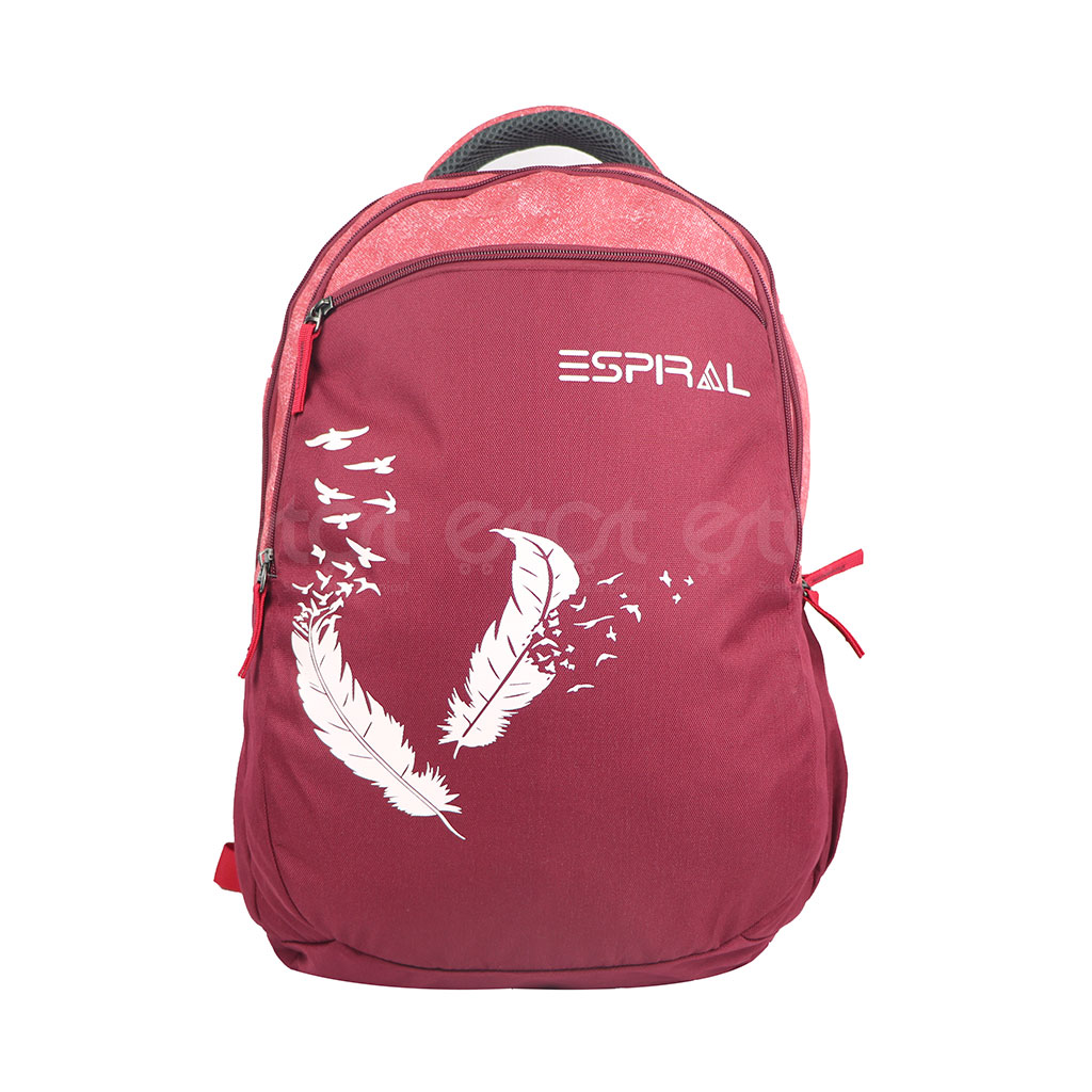 Espiral 201301 Nylon Fabric And Super Light Weight Water Resistant & Washable School Collage & Traveling Backpack Bag (red Win)