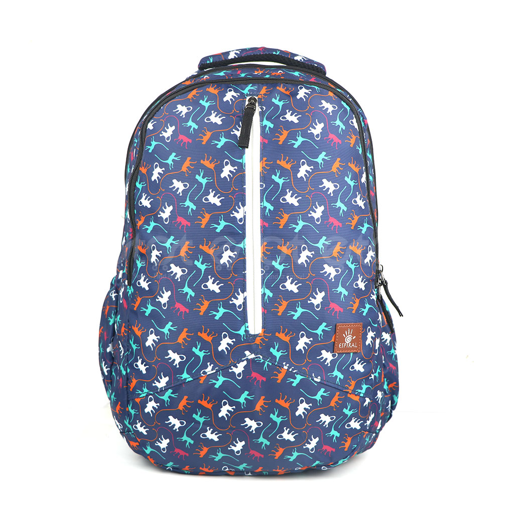 Espiral 202301 Nylon Fabric And Super Light Weight Water Resistant & Washable School Collage & Traveling Backpack Bag (monkey Aop)