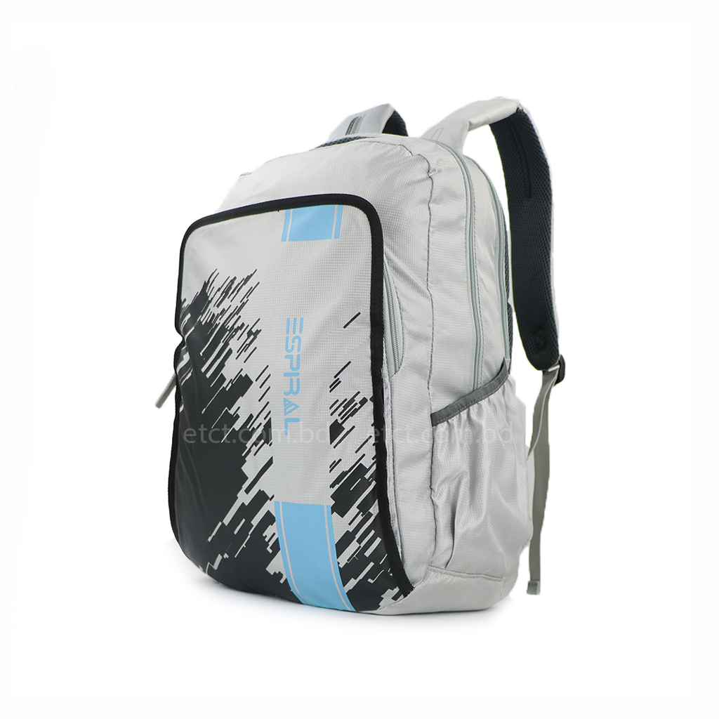 Espiral 201902 Nylon Fabric And Super Light Weight Water Resistant & Washable School Collage & Traveling Backpack Bag (gray)