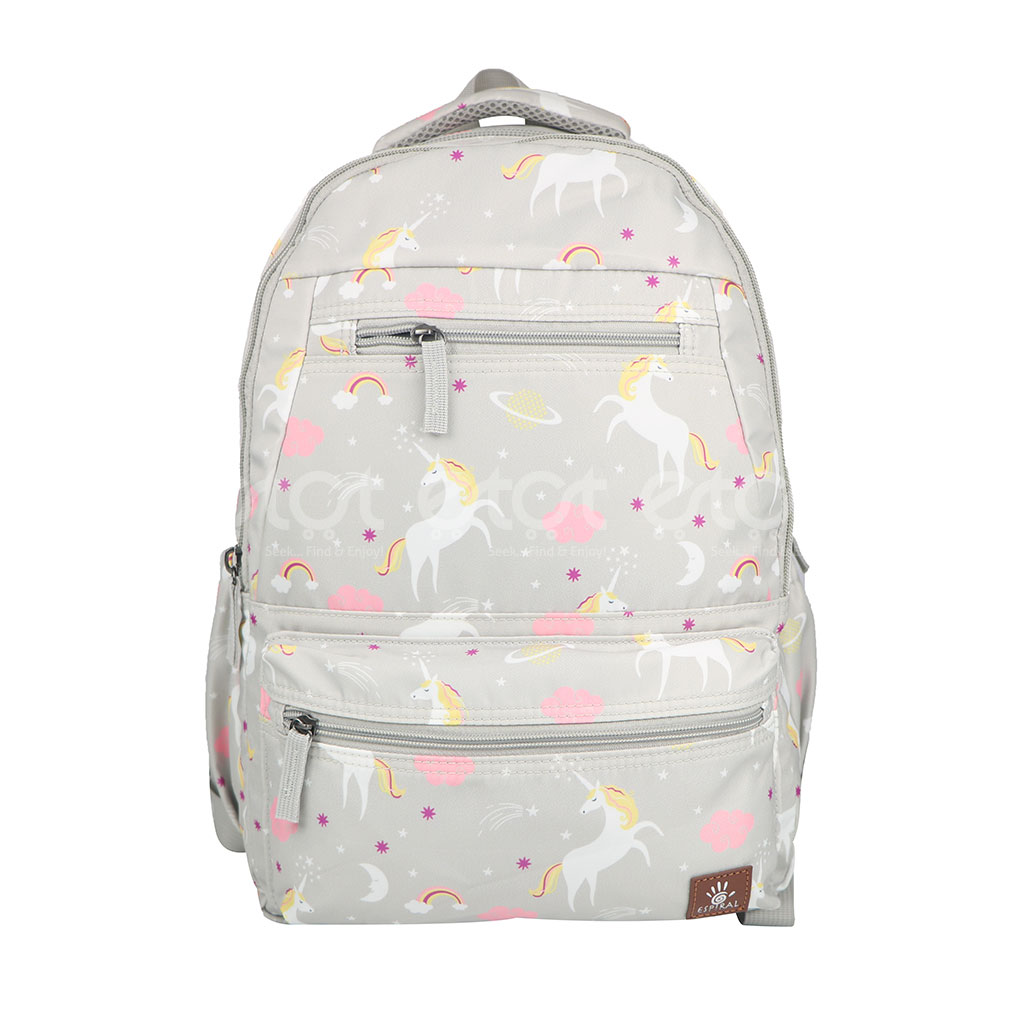 Espiral 205303 Nylon Fabric And Super Light Weight Water Resistant & Washable School Collage & Traveling Backpack Bag (gray Aop)