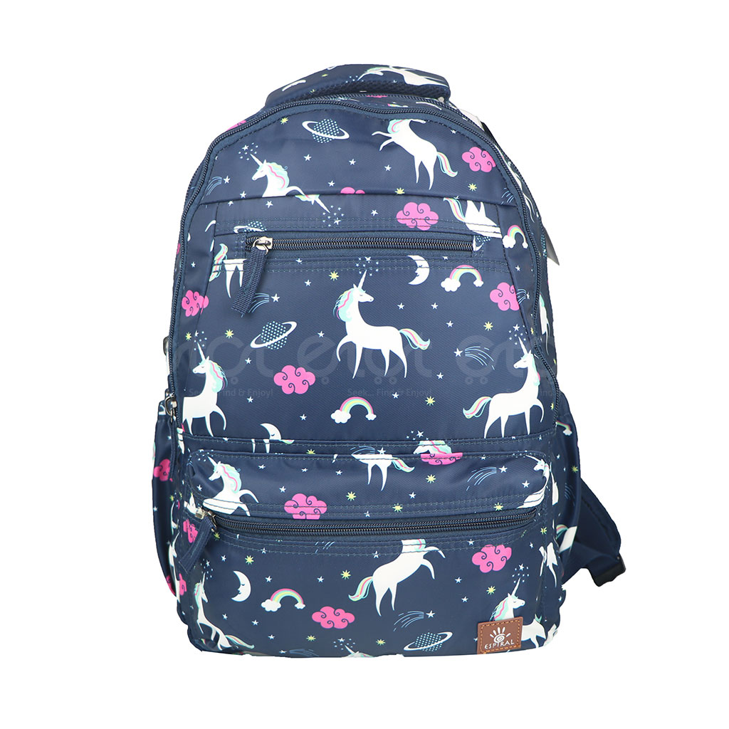 Espiral 205304 Nylon Fabric And Super Light Weight Water Resistant & Washable School Collage & Traveling Backpack Bag (navy Aop)