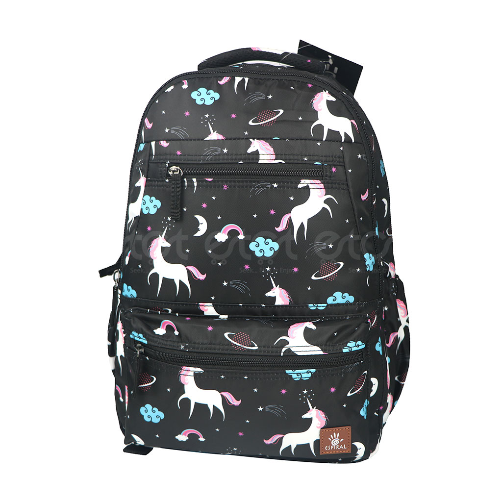 Espiral 205301 Nylon Fabric And Super Light Weight Water Resistant & Washable School Collage & Traveling Backpack Bag (black Aop)