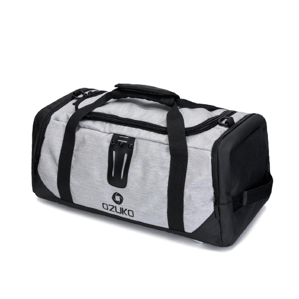 Ozuko 9005 Large Capacity New Fashion And Stylish Oxford Outdoor Professional Travel Shoulder Backpack (black & Ash)