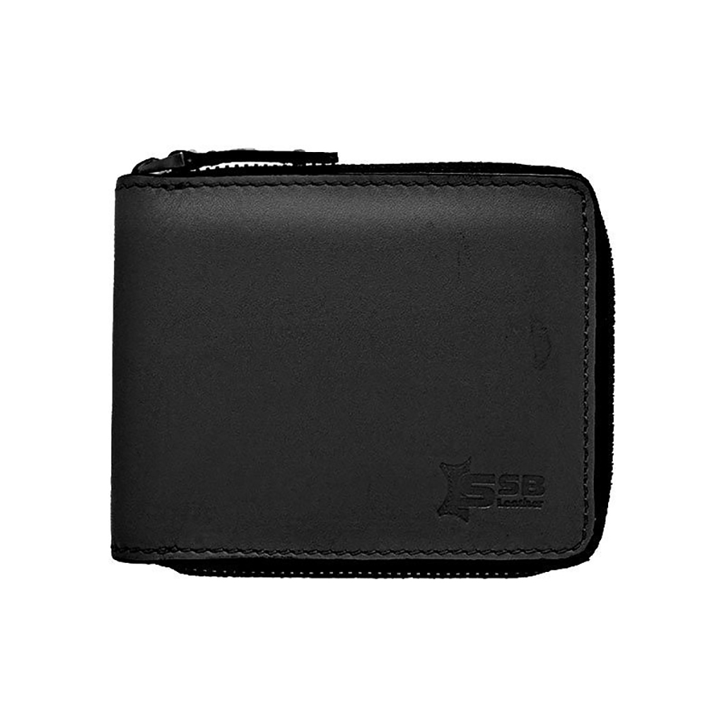 Bi-fold And Slim Leather Wallet - Sb-w55 (black)