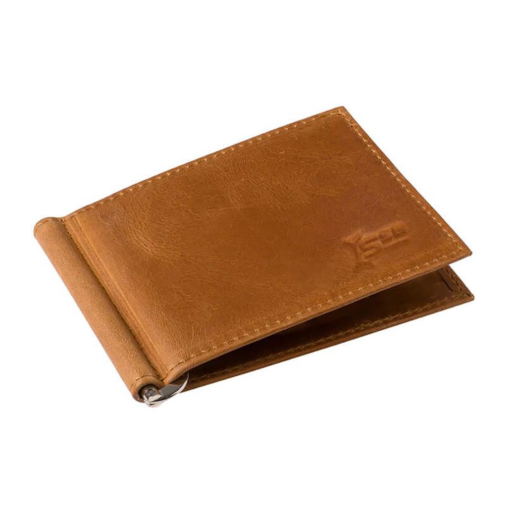 Bifold Spring Money Clip Leather Wallet - Sb-w03 (light Brown)