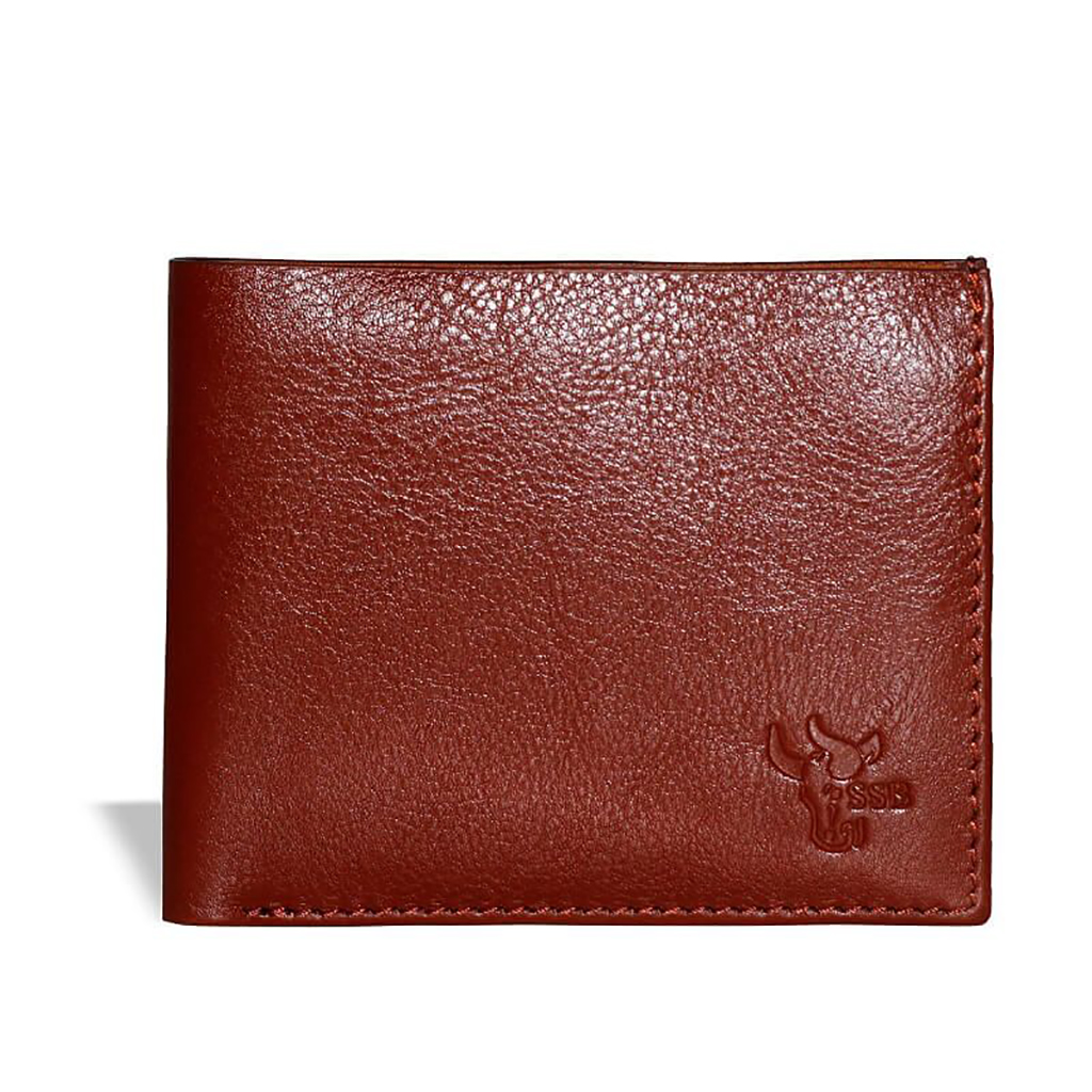 Credit Card Bifold Leather Wallet Sb-w06 (brown )
