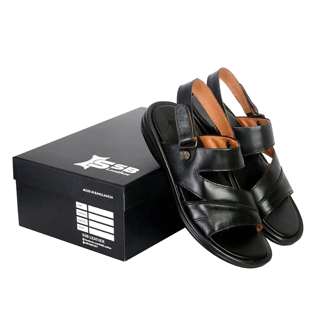 Ssb Leather Floater Men Sandals - Sb-s94 (black)