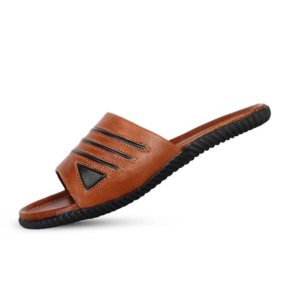 Ssb Leather Slide Sandal - Sb-s93 (brown)