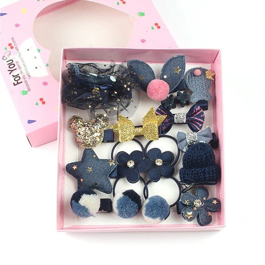 Blue 18 Pcs Headwear Set For Baby Girl