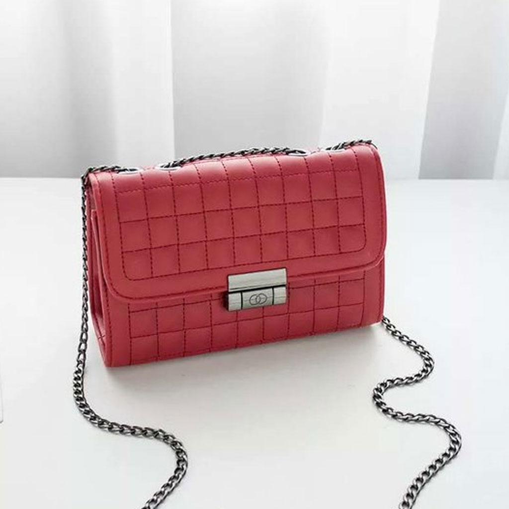 Red Women Diamond Lattice Luxury Handbag