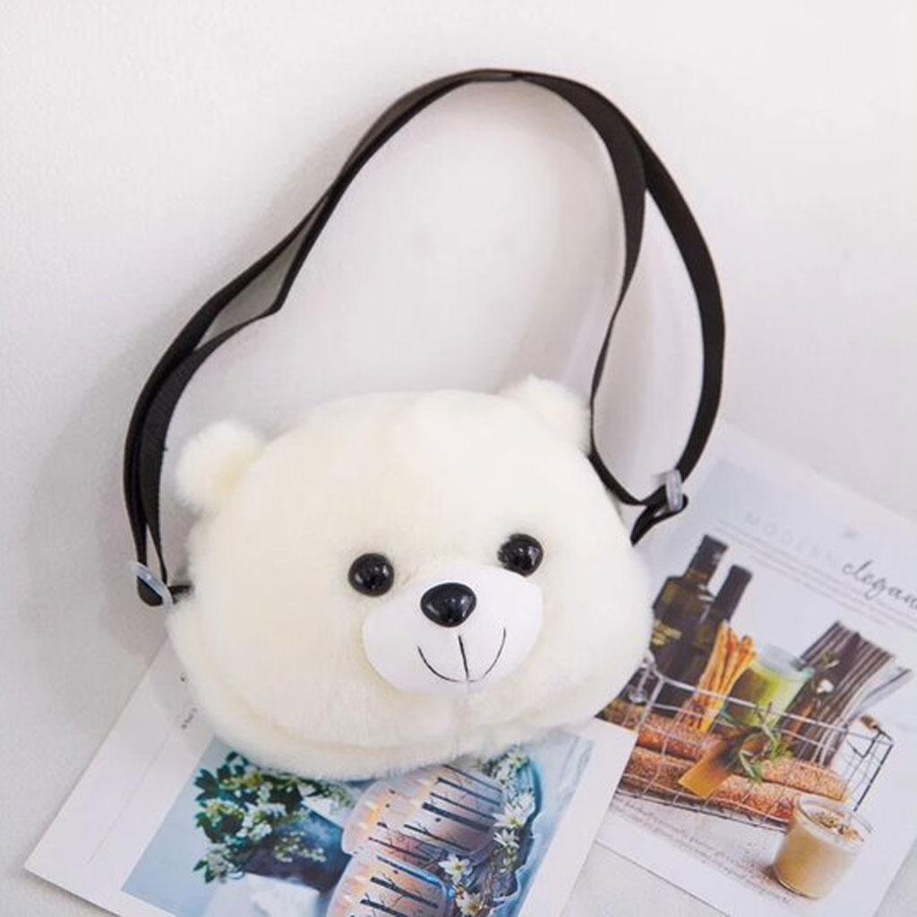 White Ladies Plush Bear Casual Cartoon Fashion Messenger Bag