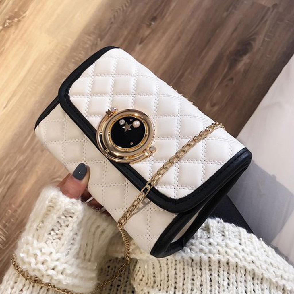 White Casual Plaid Chain Shoulder Messenger Bag