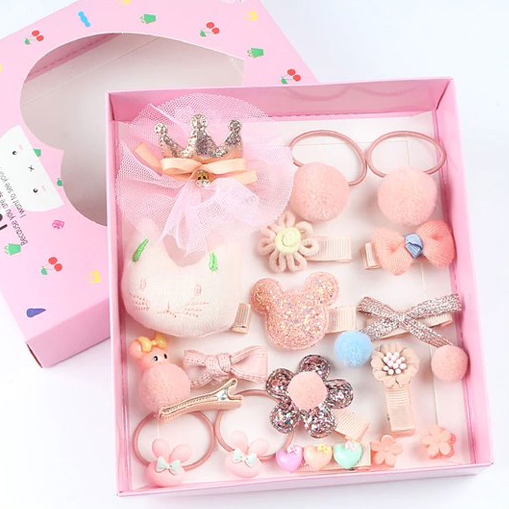 Pink 18 Pcs Headwear Set For Baby Girl