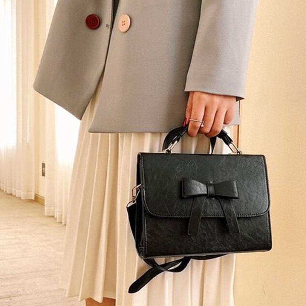 High Quality Fashion Bowknot Women Messenger Bag (black)