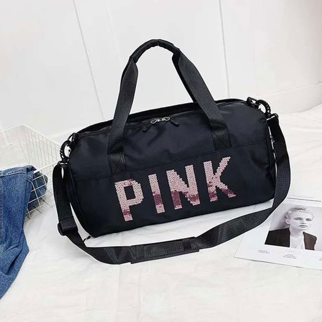 Black Large Capacity Nylon Dry Wet Separation Travel Bag