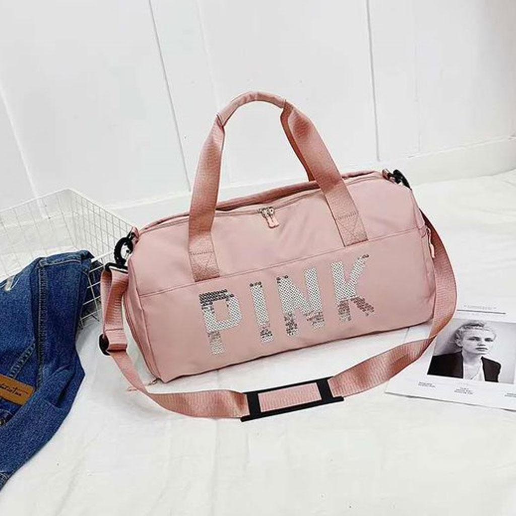 Pink Large Capacity Nylon Dry Wet Separation Travel Bag