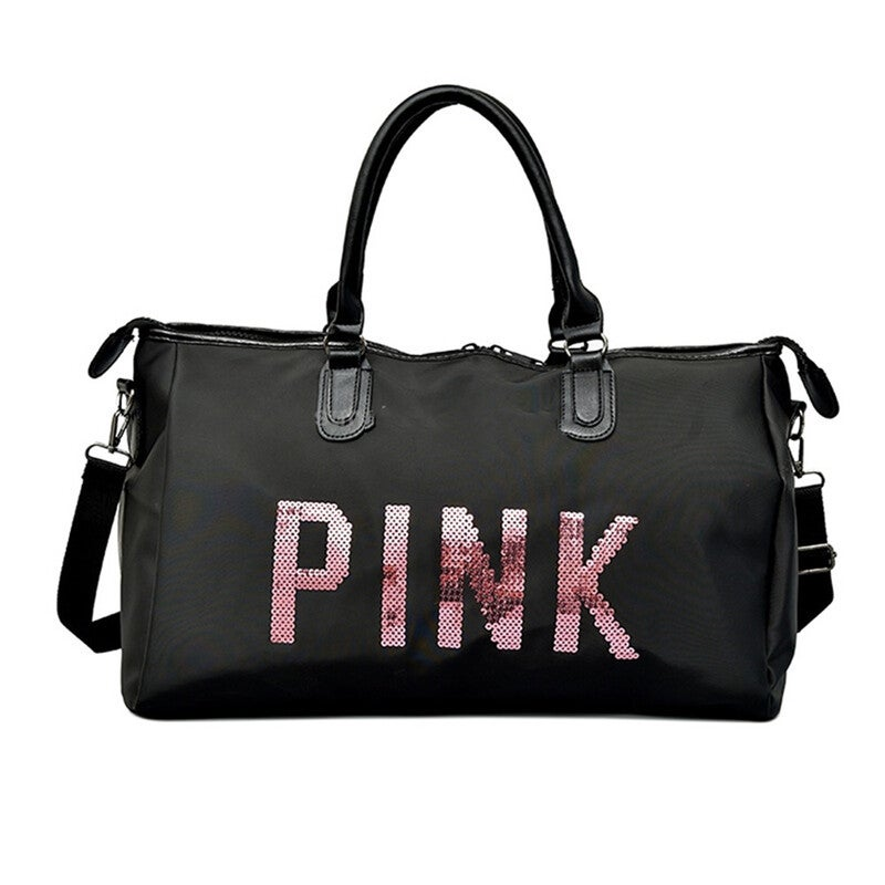 Pink Shoulder Travel And Duffle Large Sports Bag (black)
