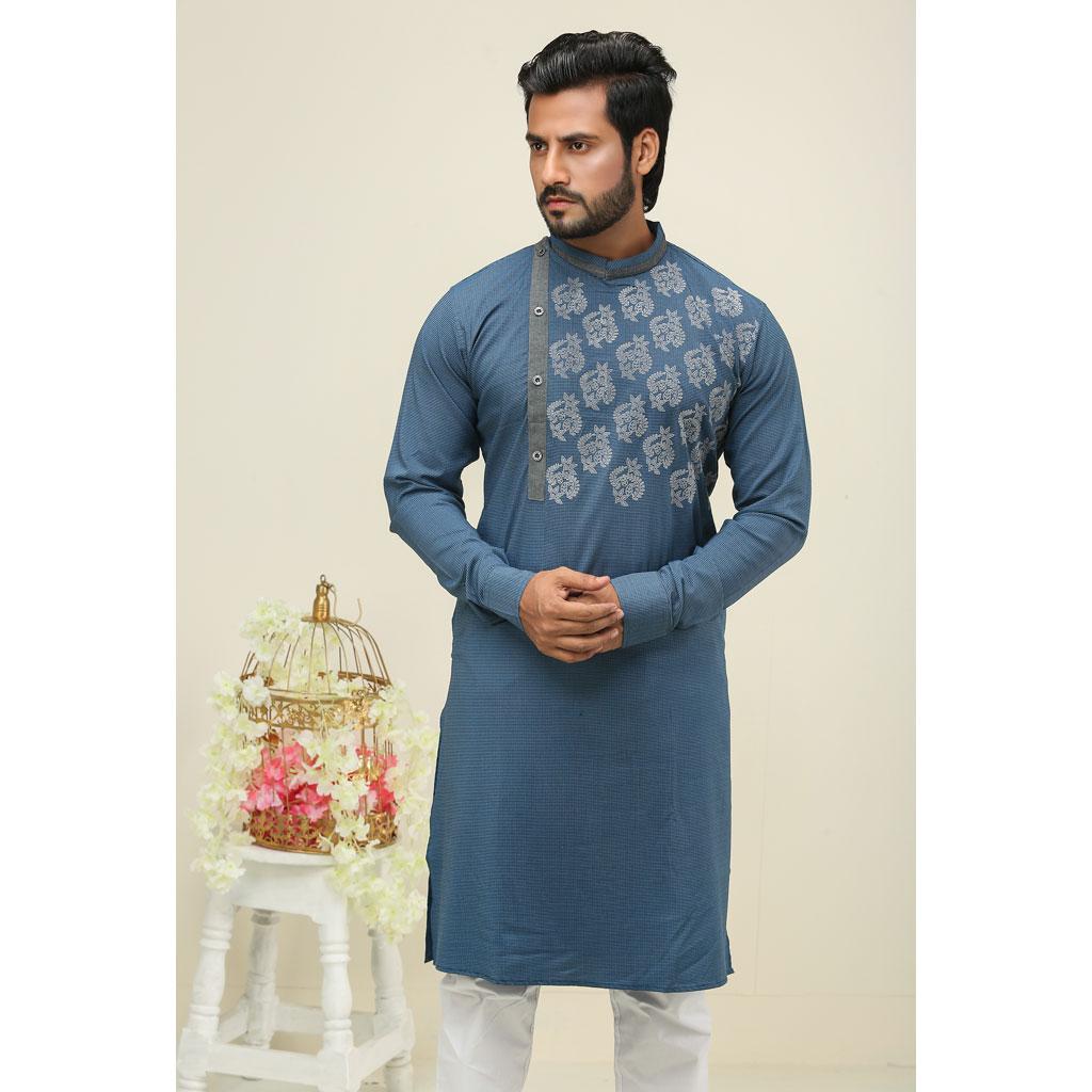 Khaki Punjabi For Men (sky Blue) - K-151