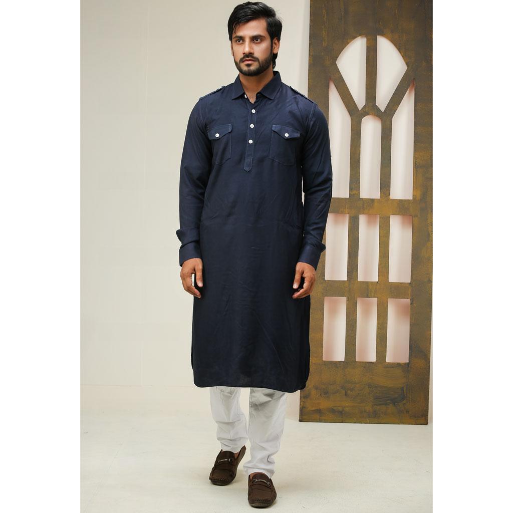 Khaki Punjabi For Men (navy Blue) K-137