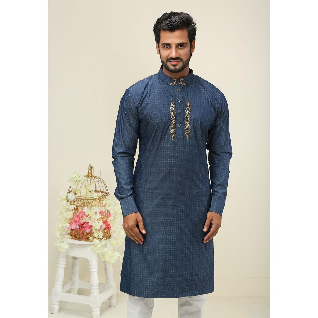 Khaki Punjabi For Men (sky Blue) - K-149