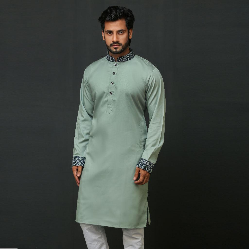 Khaki Punjabi For Men (lime) - K-176