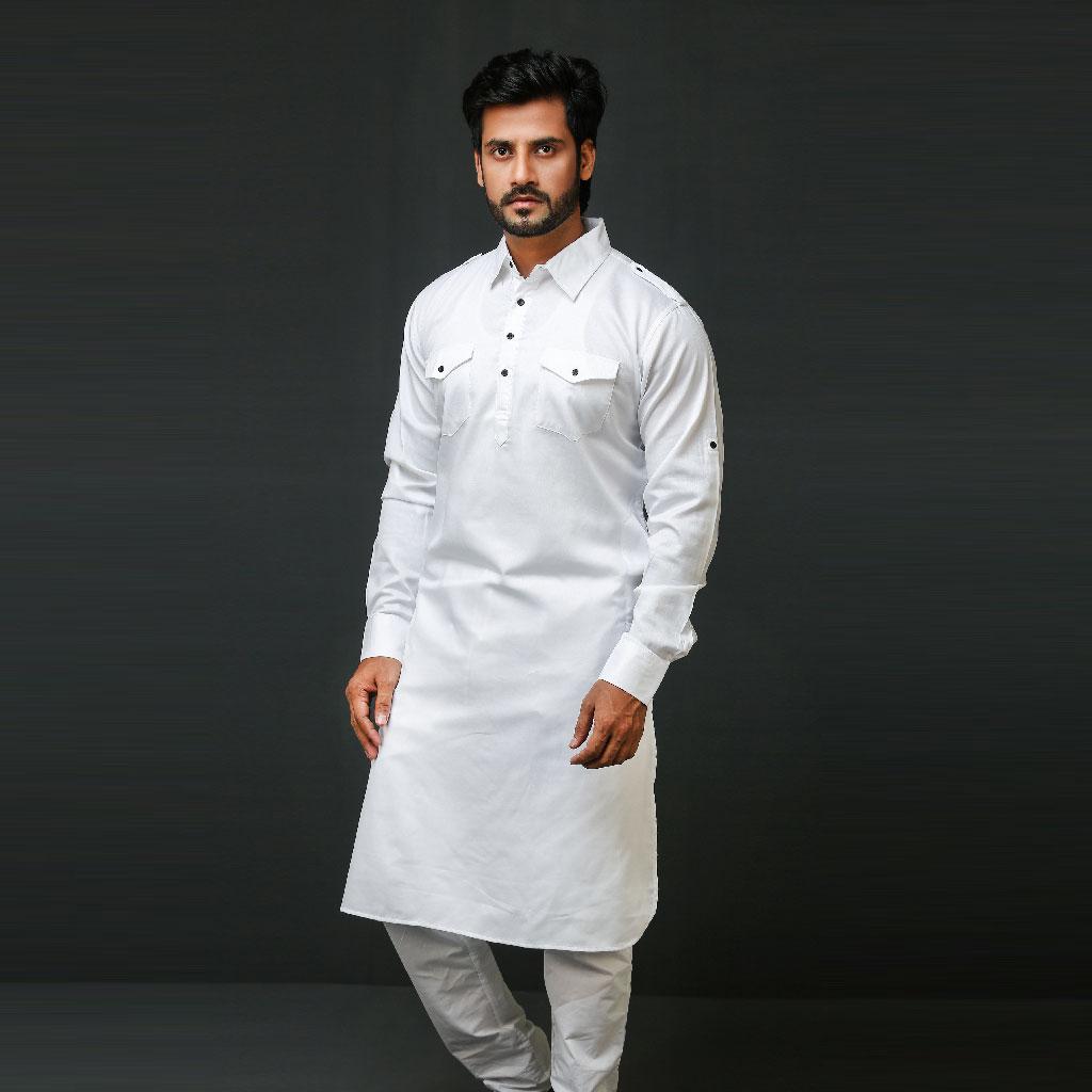 Khaki Kabli Punjabi For Men (white) - K-170